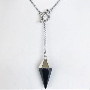 Genuine onyx pendulum lariat toggle clasp necklace